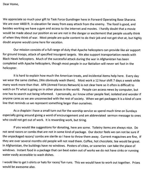 letter from chaplain steven thomas